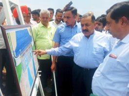 Union Minister Dr Jitendra Singh taking stock of progress in work on Shahpur Kandi Dam project on Saturday.