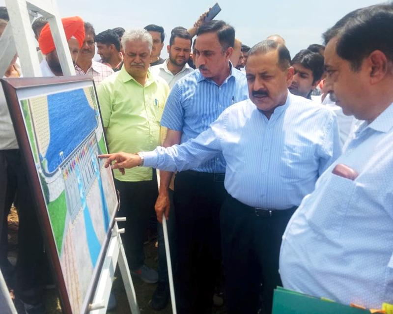 Union Minister Dr Jitendra Singh taking stock of progress in work on Shahpur Kandi Dam project on Saturday.