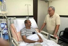Advisor Farooq Khan enquiring about condition of DIG Amit Kumar in AIIMS New Delhi on Sunday.