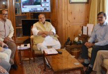 Governor Satya Pal Malik meeting delegation led by Dr Nirmal Kumar Singh, Speaker Legislative Assembly on Wednesday.