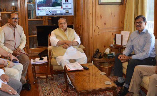 Governor Satya Pal Malik meeting delegation led by Dr Nirmal Kumar Singh, Speaker Legislative Assembly on Wednesday.