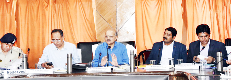 Chief Secretary BVR Subrahmanyam chairing a meeting at Kargil.