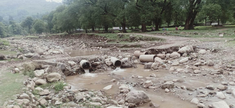 Damage caused by flash floods in Harni area of Mendhar on Friday morning.