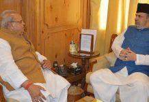 Governor Satya Pal Malik meeting with former MP Muzaffar Hussain Baig on Wednesday.