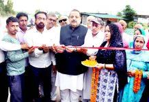 NC Provincial President Devender Singh Rana inaugurating memorial of martyr Sohanlal Bhagat on Sunday.