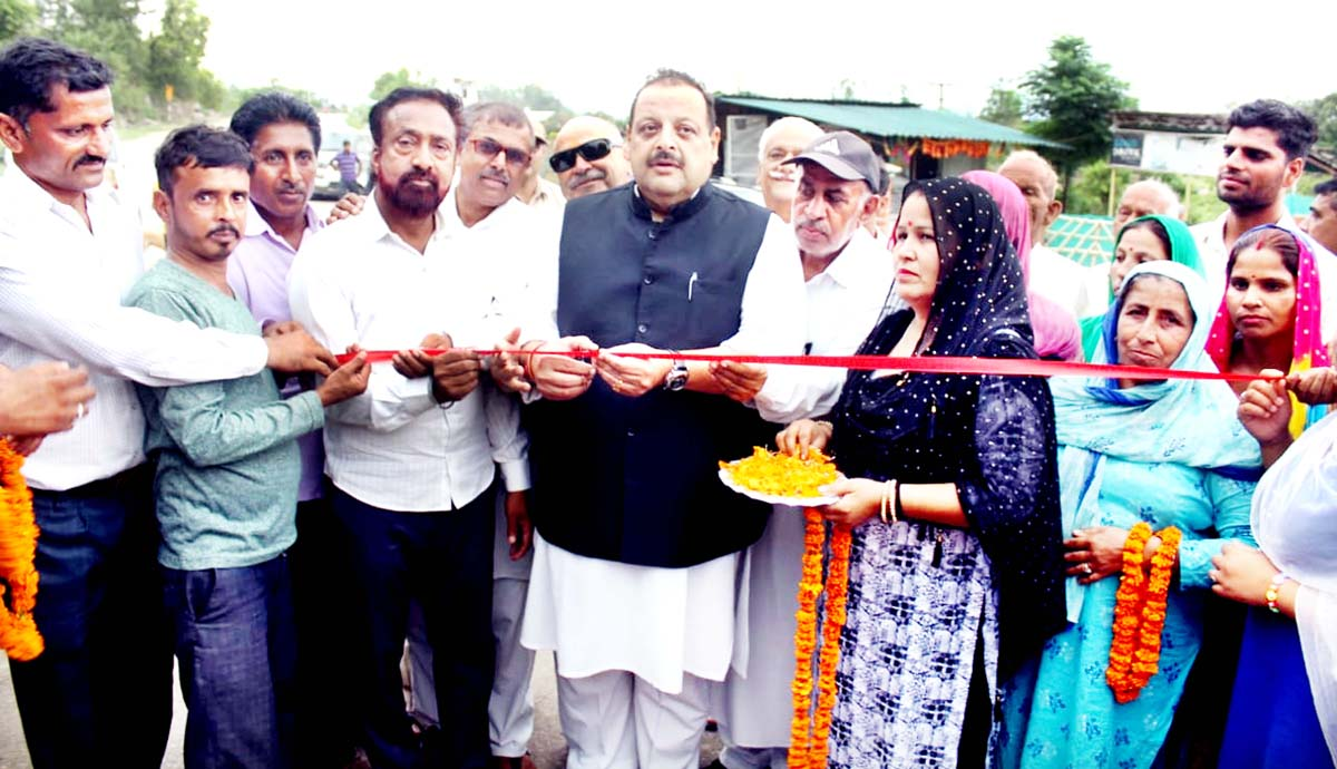 NC Provincial President Devender Singh Rana inaugurating memorial of martyr Sohanlal Bhagat on Sunday.
