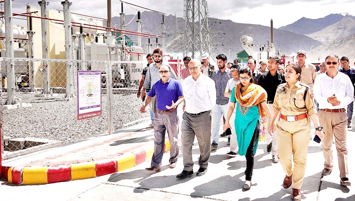 Advisor K K Sharma during his visit to Alchi project in Leh on Sunday.