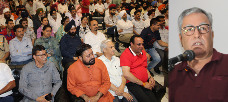Newly appointed Advisor to Governor, Farooq Khan addressing a function at Jammu Club on Monday. -Excelsior/Rakesh