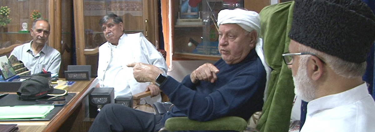 Dr Farooq Abdullah meeting with a delegation at his residence in Srinagar on Tuesday.