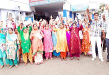 Pregnant women staging protest at District Hospital, Udhampur on Friday. -Excelsior/ K Kumar