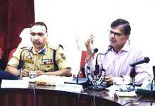Advisor K Vijay Kumar chairing a meeting at Doda on Saturday.