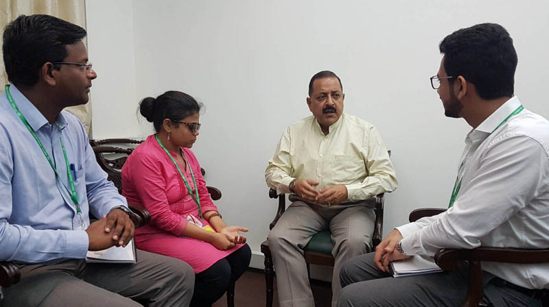 Assistant Secretaries of IAS 2017 batch, posted in DoPT, calling on Union Minister Dr Jitendra Singh, at New Delhi on Tuesday.