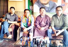 BJP Leh Unit addressing a press conference on Sunday.