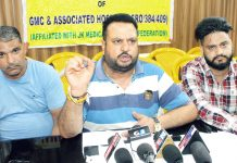 JKMEF president Sushil Sudan addressing a press conference at Jammu. -Excelsior/Rakesh