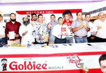 Officials of Goldiee Masala launching new products of the company in Jammu. -Excelsior/Rakesh