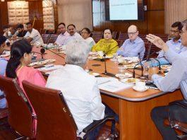 Advisor Vijay Kumar chairing a meeting at Srinagar on Wednesday.