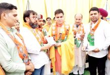 BJP State President, Ravinder Raina during a party function at Ramban on Sunday.