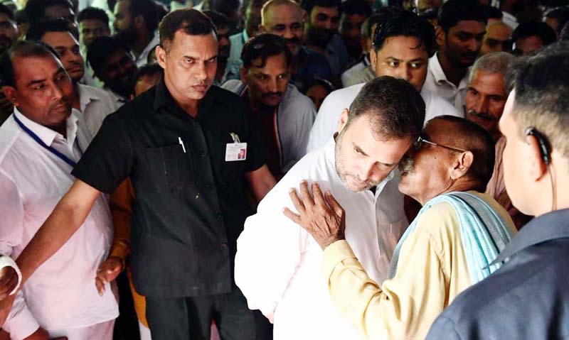 Rahul Gandhi with workers of Congress party, in Amethi. This is his first visit to the constituency, post the loss in Lok Sabha elections 2019.