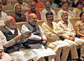 Prime Minister Narendra Modi, Defence Minister Rajnath Singh, Union Home Minister Amit Shah, BJP Working President J P Nadda, Union Finance Minister Nirmala Sitharaman and others attending the BJP Parliamentary Party Meeting, in New Delhi on Tuesday. (UNI)