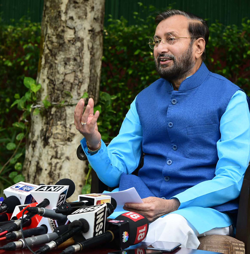 Union Minister for Environment, Forest & Climate Change and Information & Broadcasting, Shri Prakash Javadekar presents a report card of the First Fifty Days of the Government, in New Delhi on Monday.