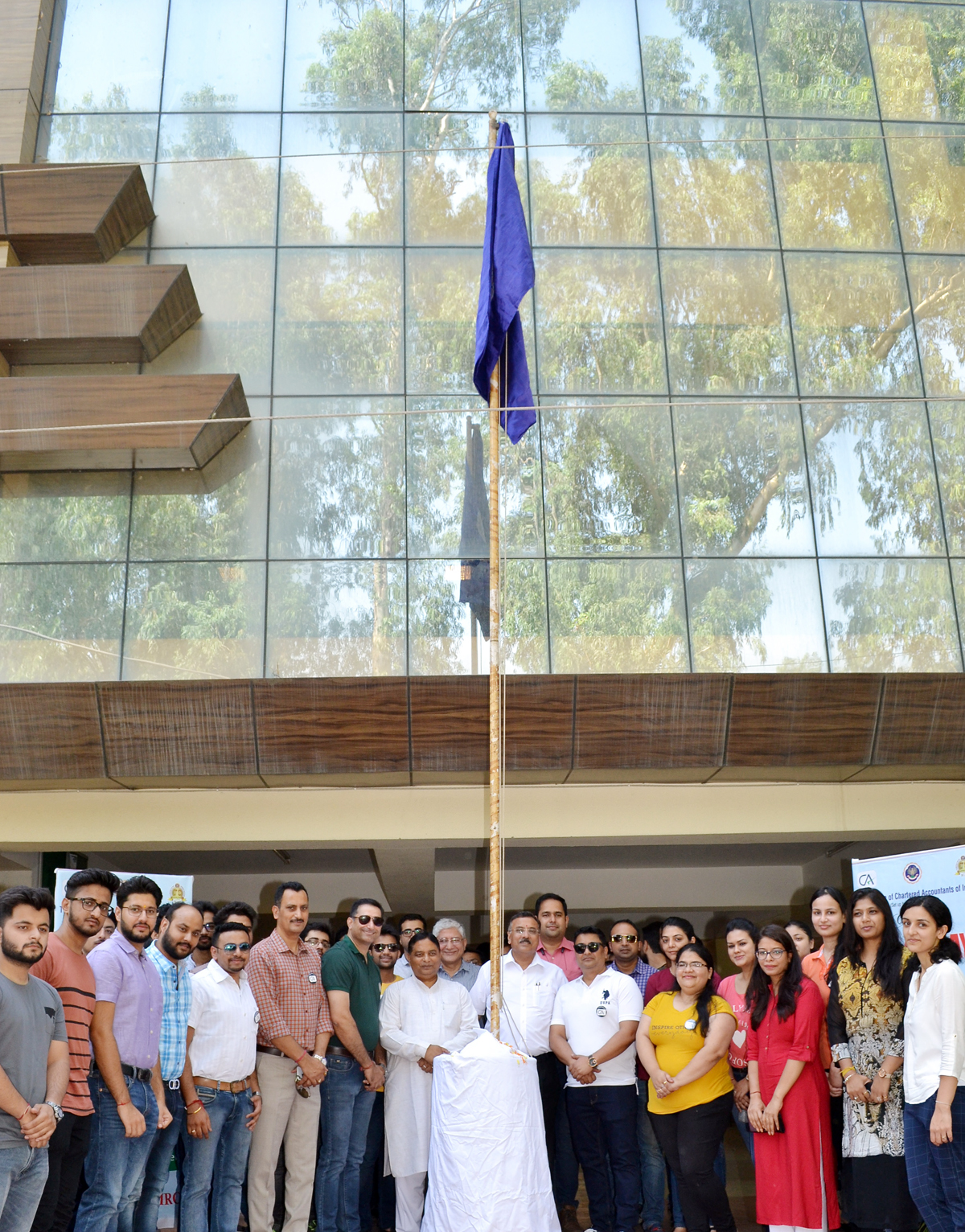 CAs conducting flag hoisting during Foundation Day function in Jammu.
