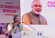 Union Minister for Law & Justice, Communications and Electronics & Information Technology, Ravi Shankar Prasad addressing at the inauguration of the workshop on Women VLE to mark CSC Diwas, in New Delhi on Tuesday.