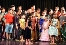 A scene from the play 'Badi Shararat Karte Thhey' staged at Jammu on Sunday.