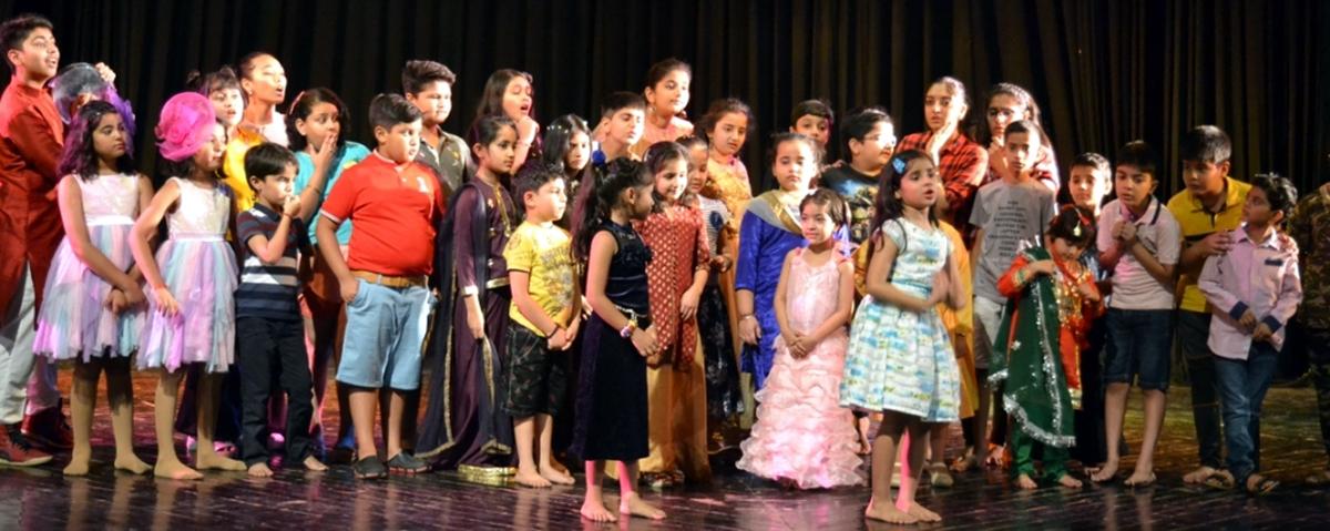 A scene from the play 'Badi Shararat Karte Thhey' staged at Jammu on Sunday.