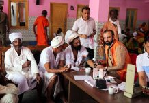 HoD Cardiology Dr Sushil Sharma examining Shri Amarnath Ji bound Sadhus at Purani Mandi on Sunday.