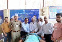Members of Sant Nirankari Charitable Foundation branch Akhnoor donating blood on Sunday.