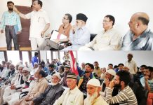 Senior NC leaders at party meeting in Srinagar on Monday.