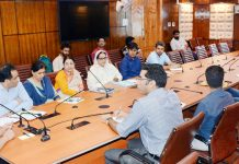 Principal Secretary Planning, Rohit Kansal chairing a meeting at Srinagar on Monday.