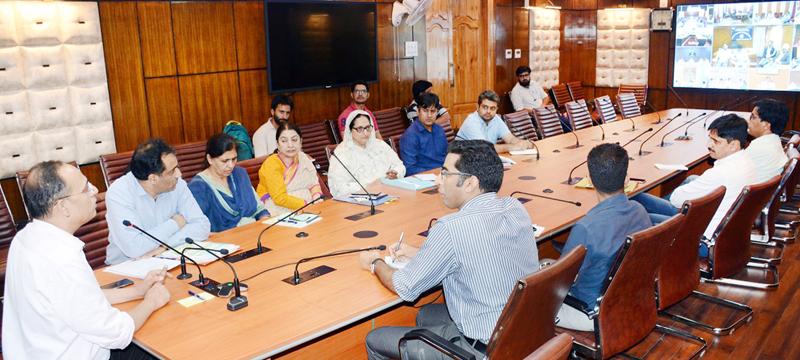 Principal Secretary Planning, Rohit Kansal chairing a meeting at Srinagar on Monday.