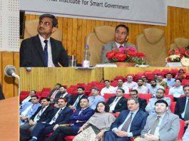 Advisor K Skandan speaking at Workshop on 'Cyber-Law, Cyber-Crimes' at Srinagar.