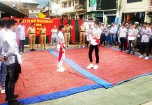 A scene from the play staged at Bhaderwah on Monday.