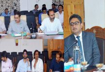 Financial Commissioner Health & Medical Education Atal Dulloo chairing a meeting at Anantnag on Saturday.