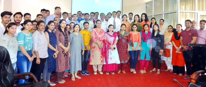 Students and faculty of GDC Udhampur with the guests during first ever workshop on FDP in College on Monday.