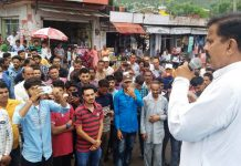 NPP leader Harsh Dev Singh addressing villagers at Ramnagar on Saturday.