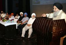 A speaker addressing a seminar on Baba Banda Singh Bahadur at Abhinav Theatre in Jammu.