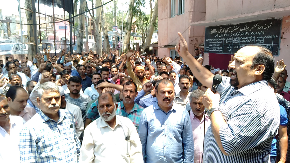President, Water Works (PHE) Employees Association, Som Nath addressing workers' rally at PHE Complex, Udhampur on Tuesday.