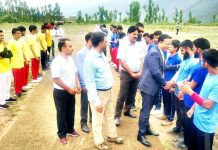 DDC Doda, Dr Sagar Dattaray Doifode interacting with players during the inaugural ceremony of Cricket tournament for visually challenged at Bhaderwah. -Excelsior/Tilak Raj
