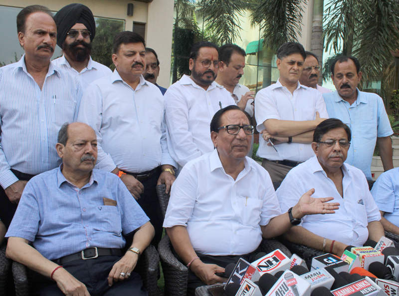 Save Jammu Chamber Forum members addressing press conference in Jammu on Wednesday. —Excelsior/ Rakesh