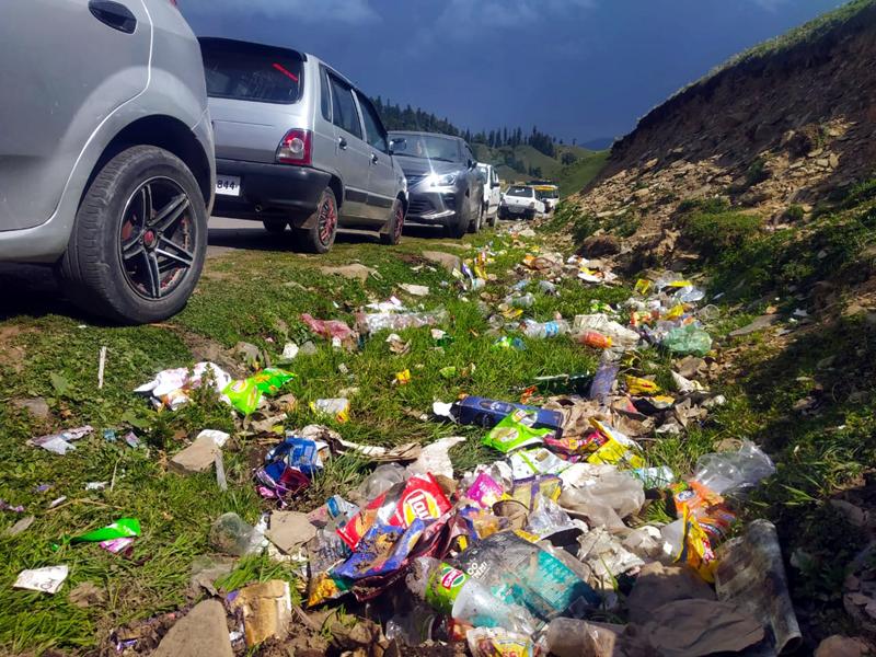Waste accumulated along roadside in Padri area of Bhaderwah. -Excelsior/Tilak Raj