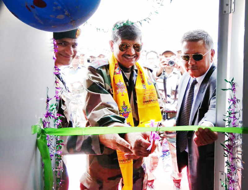 Army officer inaugurating ATM of J&K Bank.