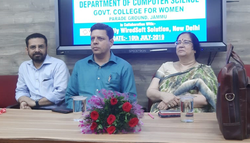 Dignitaries at the start of workshop in Govt College for Women, Parade on Wednesday.