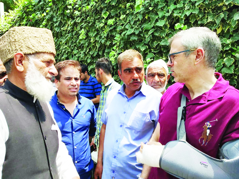 A delegation of fruit growers interacting with NC vice president Omar Abdullah on Wednesday.