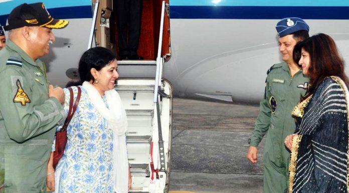 Air Marshal Raghunath Nambiar and Luxmi Nambiar in Jammu.