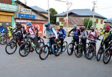 Cyclists taking part in biking expedition at Bandipora in Kashmir.