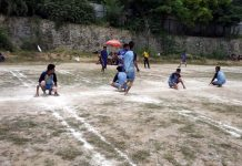 Players in action during Provincial level Inter District Kho-Kho Championship in Budgam.