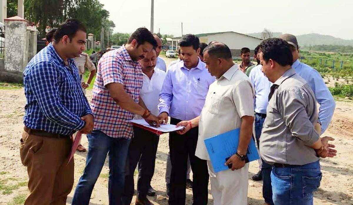 Divisional Commissioner Jammu Sanjeev Verma during his visit at Khel Gaon in Nagrota on Monday.